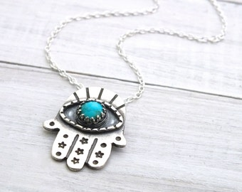 Sterling Silver Hamsa Necklace, Turquouse 925 Hand-Stamped Necklace, Hand Necklace, Protective Necklace, Hand Pendant, Evil Eye Necklace