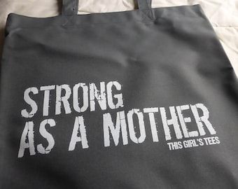 Strong Mother GIFT BAG Mothers Day Grey Grocery Book Tote