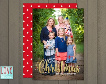 Christmas Holiday Photo Card, Red Gold foil - PRINTABLE DIGITAL FILE - 5x7 Includes red backside.