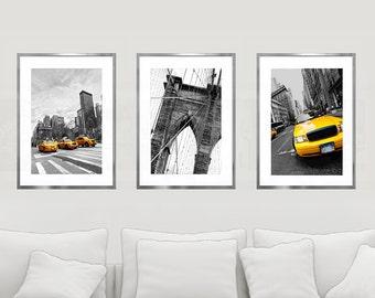 New York Print Set, New York City Wall Art, City Art Print Set, Set of 3 Prints, NYC Print, NYC Wall Decor, Brooklyn Bridge, Yellow Cabs Art