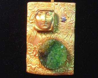 Green Goddess Druzy Pendant Necklace
