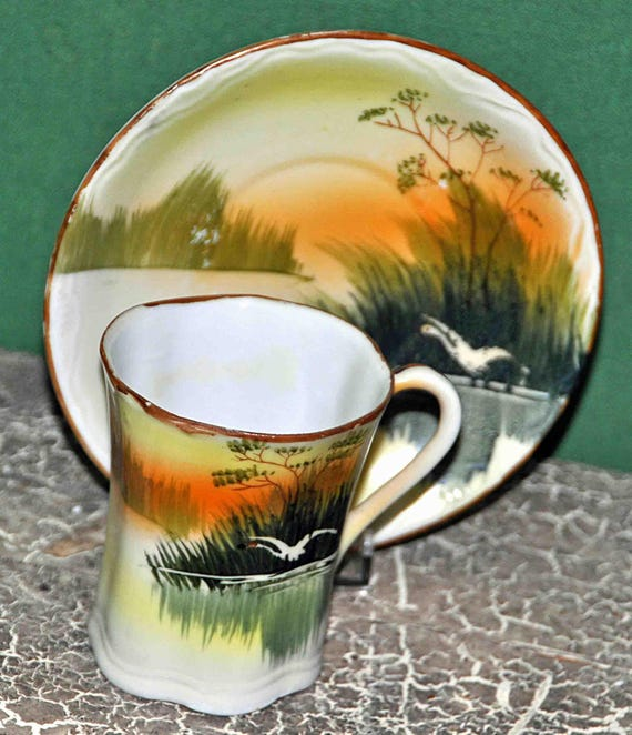 Vintage 1920s NIPPON Hand Painted T T H0T CHOCOLATE CUP and Saucer Made in Japan Outdoor Scenic Design Exc Condition