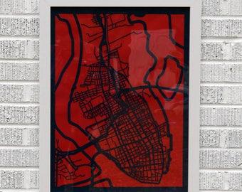 Charleston, SC map 18x24 laser-cut print, dark blue on red