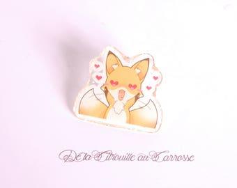 Kawaii style in love fox pin badge