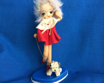 Vintage Stockinette Pose Doll So Sweet! Girl Walking Her Dog 60's Retro Toy Made in Japan