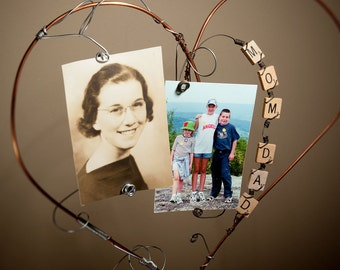 25th Anniversary | Picture Frame | Copper Wire Heart Frame | Mom | Dad | Copper Decor | Fathers Day | Mother's Day | Standing Sculpture