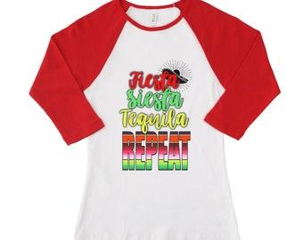 Fiesta, Siesta, Tequila, Repeat Women's Raglan top