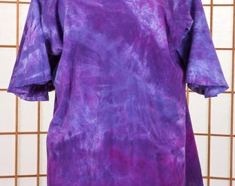Women's Top, Plus Size, 3X, Butterfly Sleeve, Short Sleeve, Scoop Neck, Boho, High Fashion, Purple, Pink, Hand Dyed, Gift, Gift for Her 157