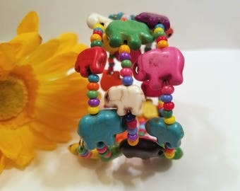 Colorful Elephant Bracelet, Wrap Around Bracelet, Boho Jewelry Bohemian, Memory Wire Bright Colors, Stack Coil Bangles, Beaded Cuff