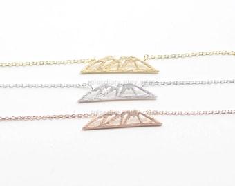 dainty Mountain Necklace, Mountain Pendant Necklace, Mountain outline Necklace, Mountain Charm, Nature Jewelry, gift ideas