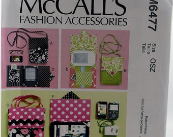 McCall's 6477, Fashion Accessories Pattern, E-Reader Covers, Carrying Case Pattern, Sewing Pattern, Uncut
