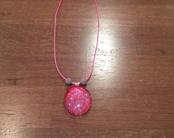 Glass Diffuser Necklace - Pink - Purple - Essential Oil Diffuser Necklace - EO - Love