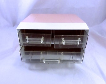 Vintage Pink and White Desk Organizer With 3 Drawers 6.5 by 6.5 Inches
