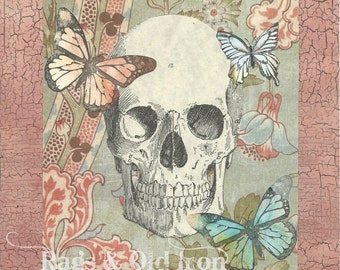 Skull and butterflies mixed media collage, macabre, curious, memento mori, human anatomy, gothic, horror art, art print