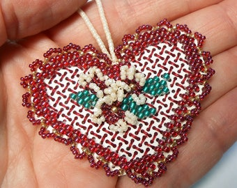 Plum Heart Stitched and  Beaded Valentine's Day or Christmas Ornament