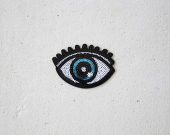 """Iron-on Eye Patch - Large Sequinned Iron-on Evil Eye Patch, All Seeing Eye Patch - Customising, Scrapbooking, Crafting etc - Flair - 3.5"""""""