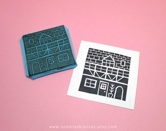 House Stamp - Hand Carved Rubber Stamp – Scrapbooking Stamp – Card Making – DIY Stationery - Journal Stamp - Printmaking