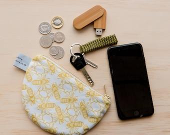 Bee print purse - half circle purse - semi circle purse - coin purse - change purse - wallet - zipper coin pouch - animal print purse