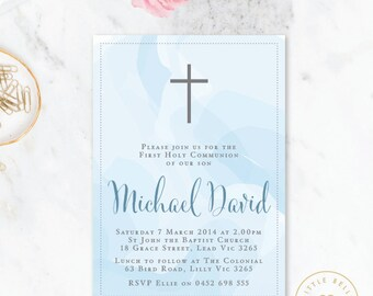 Boy First Holy Communion Invitation Printable / Boy First Holy Communion Invite / Cross