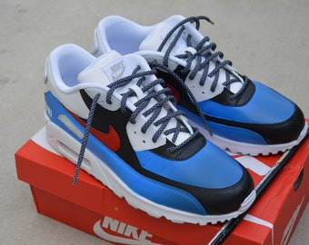 Custom Painted Red White & Blue Nike Air Max 90 Shoes - Men's and Women's Sneakers USA Theme