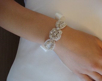 Rhinestone Bracelet for a Bride, Bridesmaids,  Flower Girls, or any Special Occasion, Double Sided Satin Ribbon - Ships in 1-3 Business Days