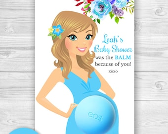 Baby Shower EOS lip balm Favor Card - Printable Favor Template - Floral Baby Shower - Personalized Thank you favors