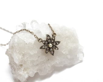 Gold Flower Pendant with Crystals and Pearl Center