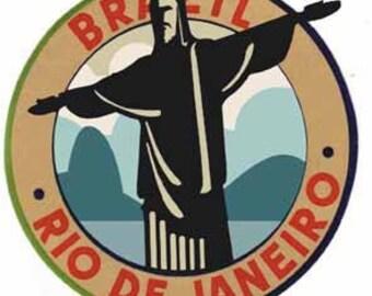 Vintage Style Rio Je Janeiro Brazil Brasil Carnival Copacabana Jesus   Travel Decal sticker