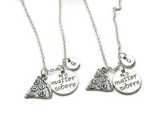 2 Best Friends Necklaces, 2 BFF Necklaces, Pizza Necklaces, No Matter Where Necklaces, Pizza No Matter Where Necklaces, Personalized
