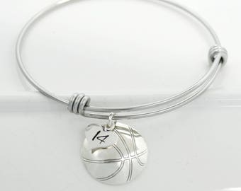 Basketball Charm Bangle Bracelet Personalized with Jersey Number or Initial | Basketball Mom Bracelet