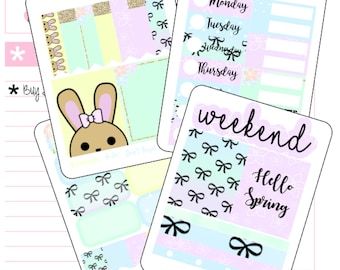 Planner Mini kits - Hello Spring Erin Condren/ Vertical Planner / Planner Kit / White Space Planning / Mini Kit / Hand Drawn