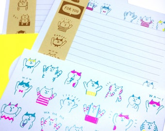 GOROGORO NYANSUKE Letter Set - Choice of 2 styles - Writing Papers & Envelope Banzai and Cabbage Lettuce