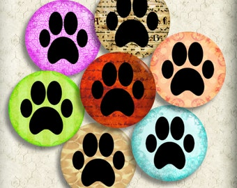 Paw Prints Dog Cat 1 Inch Circles One Inch Printable Instant Download Digital Collage Sheet Pendant Images Magnets Buttons Bottle Cap