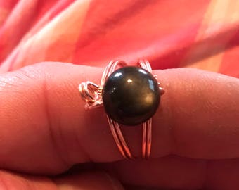 Stone bead ring. Pick stone and size! Copper