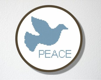 Counted Cross stitch Pattern PDF. Instant download. Peace Dove. Includes beginners instructions.