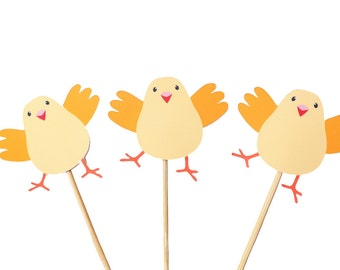 Farm Animal Cupcake Toppers - Baby Chick Cupcake Toppers - Spring Chicken Cupcake Topper - Farm Birthday - Farm Party - Spring Birthday