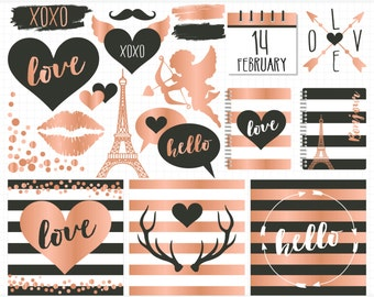Digital Stamps - Hipster Valentines Day / Black & Rose Gold foil, Nordic Valentine clipart, deer antlers, eiffel tower, confetti clipart