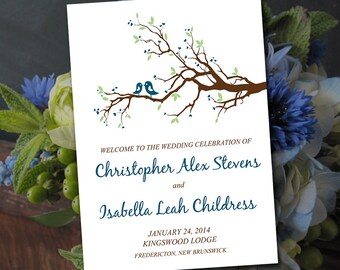 "Fold Over Wedding Program Template - ""Love Bird Branch"" Wedding Program Storm - DIY Wedding Half Fold Program Printable - Instant Download"