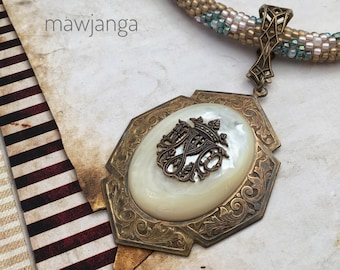 Notre-Dame de Paris, handmade bead crochet necklace, one of a kind mother of pearl pendant with vintage insignia and bail, mawjanga