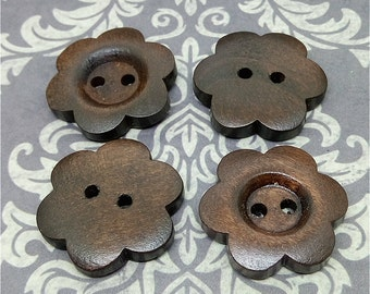 25mm x 50pcs Dark Brown Color 2 Holes Wood Button for Sewing, Craft, Scrapbook B420