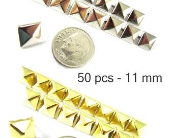 50 pcs - 7/16 po (11 mm). Nailheads taches Pyramid Studs - 2 broches (2 cuisses) Square Stud Spike - pour le bricolage sac, chaussures, sur la mode des vêtements