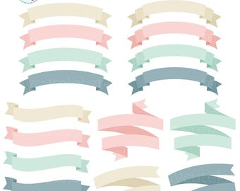 Banners Clipart Set - clip art set of pastel banners, frames, labels, tags, banners - personal use, small commercial use, instant download