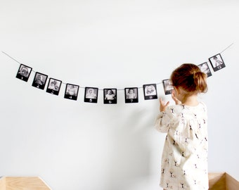 Guirlande photo, bannière photo, cadre en année premier bébé, guirlande cintre image, affichage d'anniversaire bébé, affichage photo moderne, bannière de chambre d'enfant