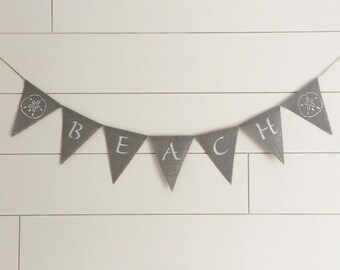 Beach burlap banner - grey burlap  banner