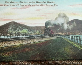 Postcard Fast Express Train Crossing Rockville Bridge Harrisburg PA - Longest Four Track Bridge in the World