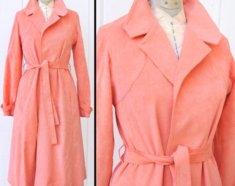 Vintage 1960s PINK Trench Ultra Suede Lightweight Belted Coat MOD