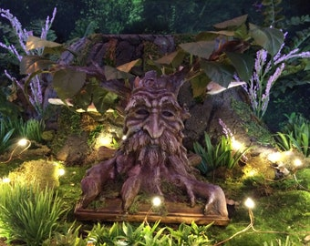 Old Man Willow - Handmade Tree Spirit Greenman Faux Bonsai Tree On A Moss Covered Wooden Base