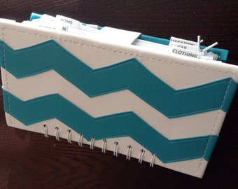 Cash Budget Wallet (Aqua Chevron)
