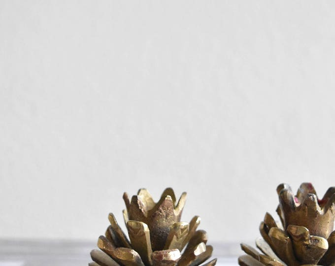 pair of solid brass pine cone candle holders / taper candlesticks / set of 2