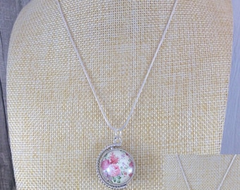 Floral necklace, Flower necklace, Reversible jewellery, Glass necklace, Enamelled pendant, Hand enamelled, Necklace, jewellery, OOAK